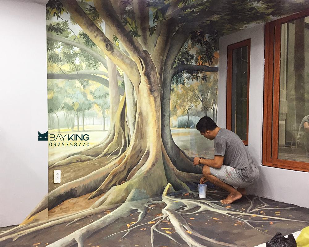 vẽ tranh tường 3d