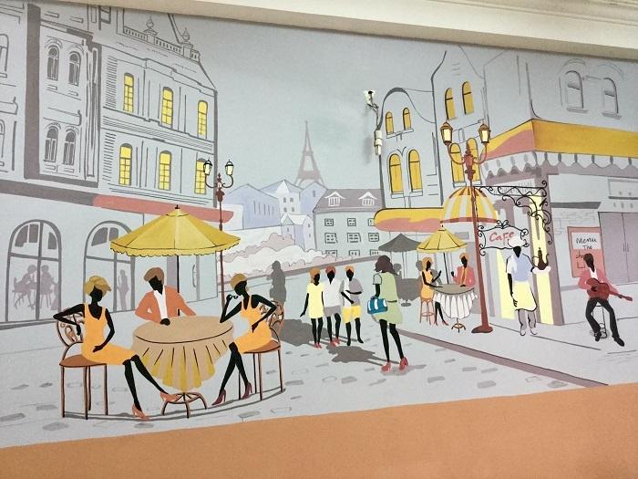 tranh tường quán trà sữa đẹp