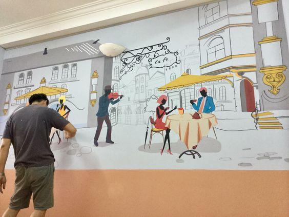 tranh vẽ tường quán trà sữa