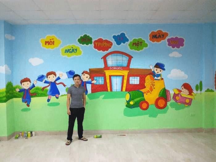 Vẽ tranh tường trường mầm non