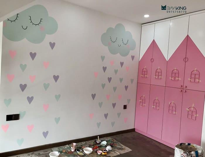 vẽ tường phòng ngủ