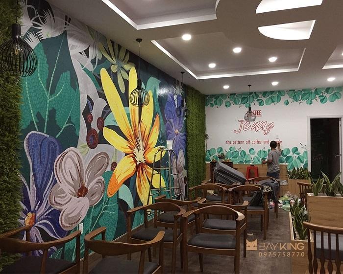 vẽ tường quán trà sữa