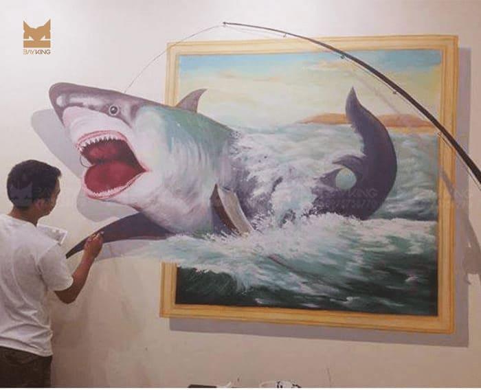 Tranh 3d câu cá mập