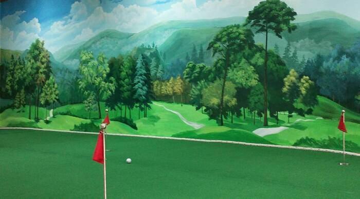 Tranh 3d cho sân golf trong nhà
