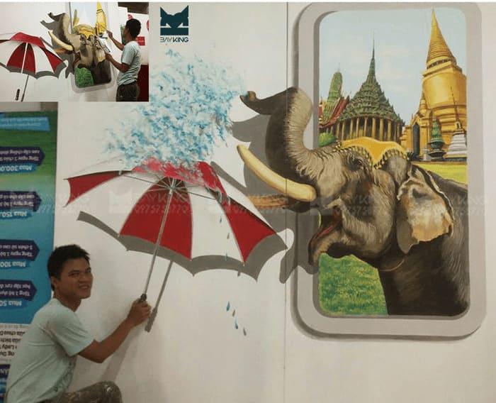 Vẽ tranh 3d lên tường