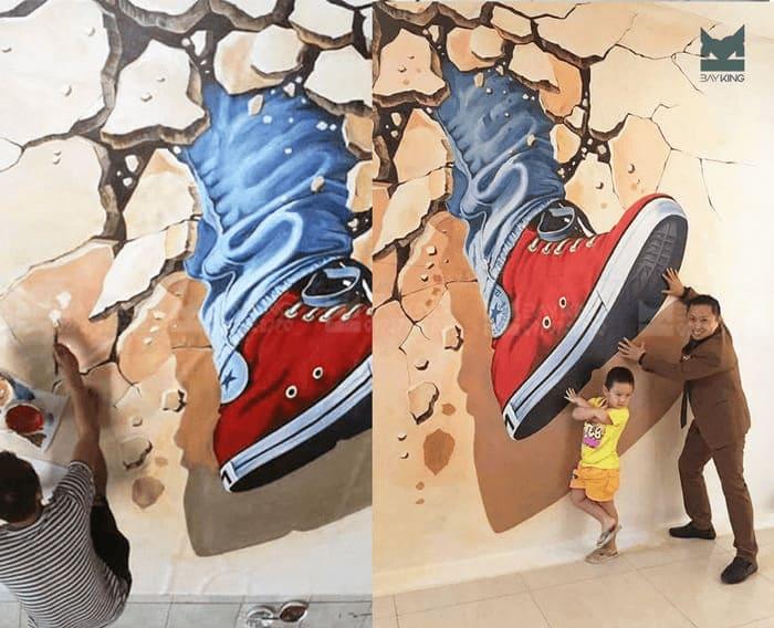 Vẽ tranh 3d trên tường