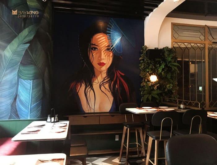 tranh vẽ nhà hàng