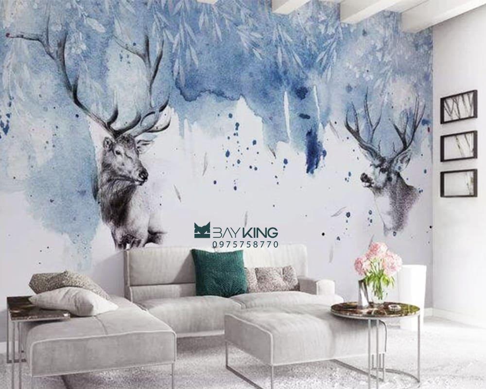 vẽ tranh trên tường phòng khách