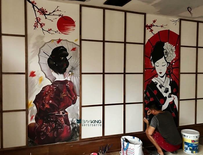 dịch vụ vẽ tranh tường nhà hàng uy tín