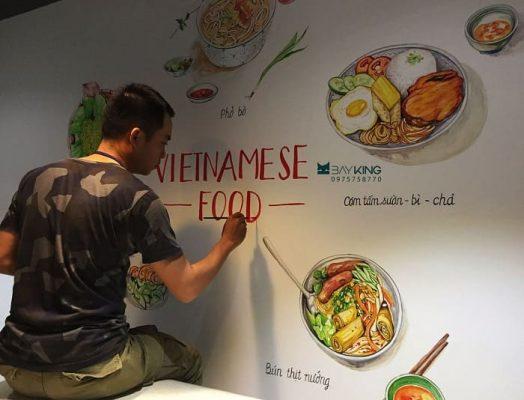 vẽ tranh tường nhà hàng