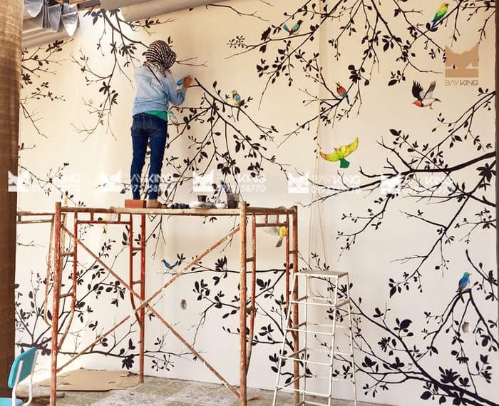 Mẫu vẽ tranh tường cho quán cafe