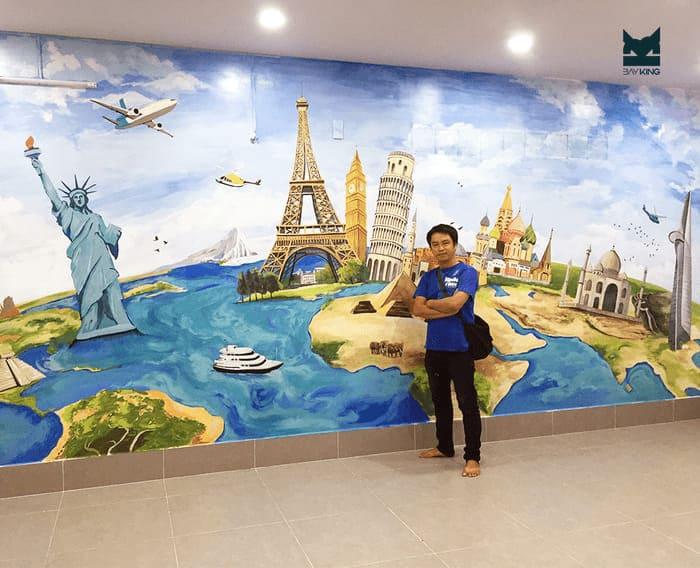 vẽ tranh tường những địa danh nổi tiếng