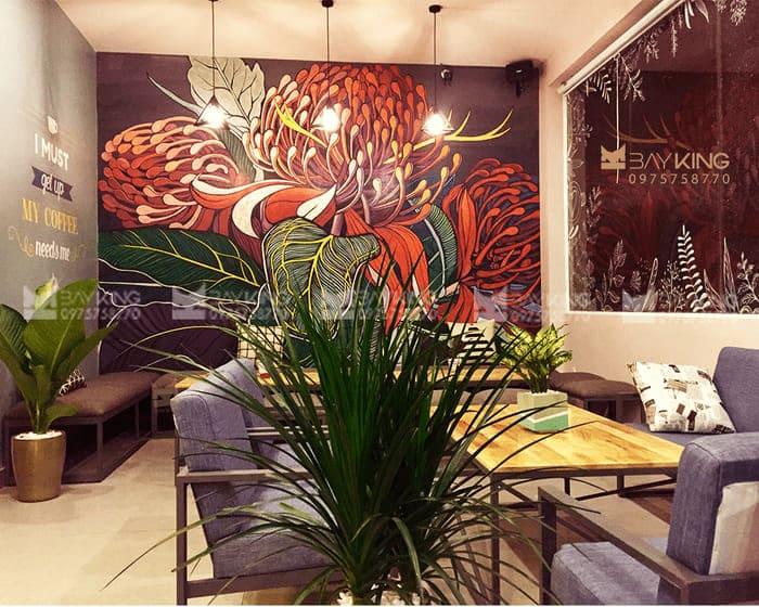 Tranh tường 3d quán cafe