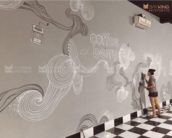 Tranh vẽ tường quán cafe đẹp