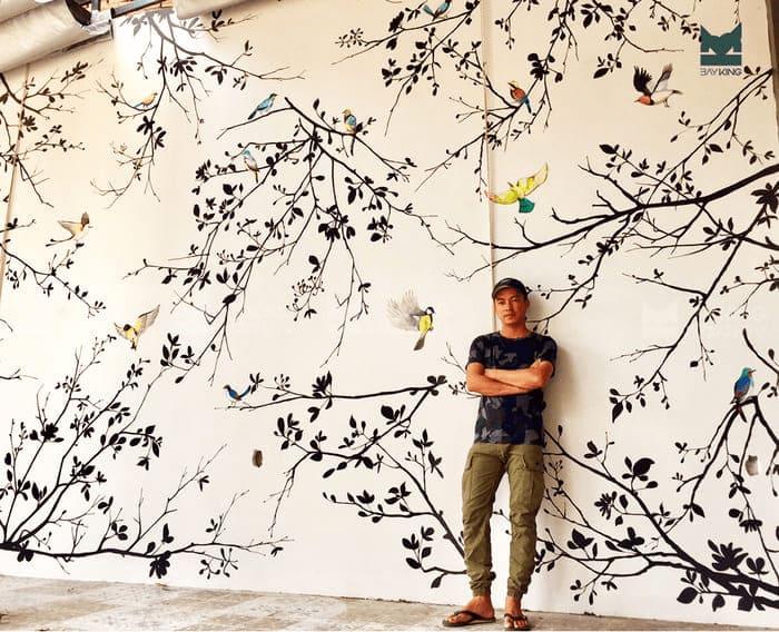 vẽ tranh tường cây và chim