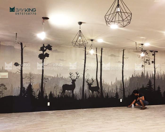 Vẽ tranh tường cho quán trà sữa