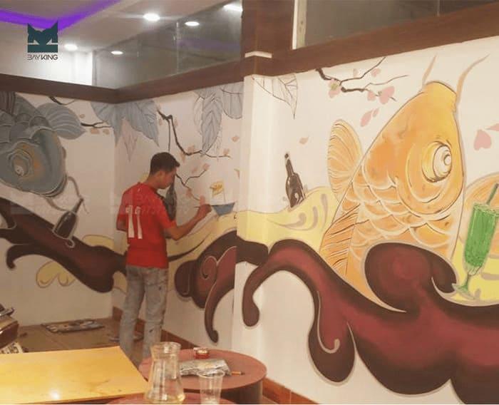 Vẽ tranh tường quán cafe có bố cục rõ ràng