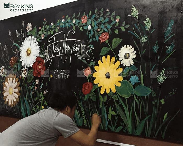 Vẽ tranh tường quán cafe cổ điển