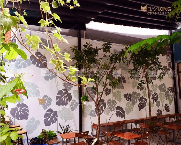 Vẽ tranh tường quán cafe sân vườn