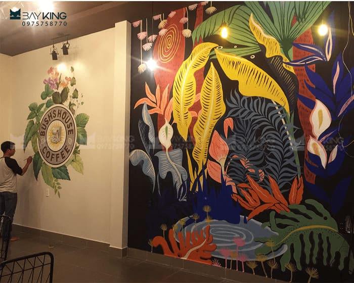 Vẽ tranh tường quán cafe văn phòng